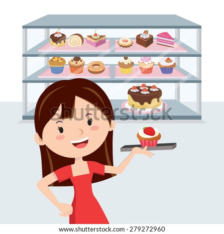Bakery store. Young woman buying cake at a bakery store. - stock vector