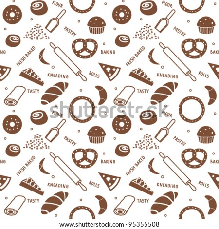 Bakery themed seamless background 1 - stock vector