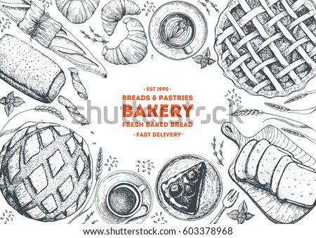 Hand Drawn Sketch With Bread Pastry Sweet Bakery