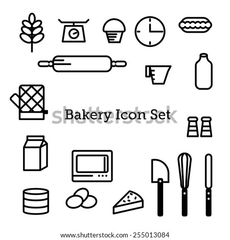 bakery vector icon set - stock vector