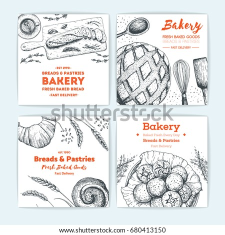 Bakery Vector Ilration Banner Collection Hand Drawn Sketch With Bread Pastry Sweet