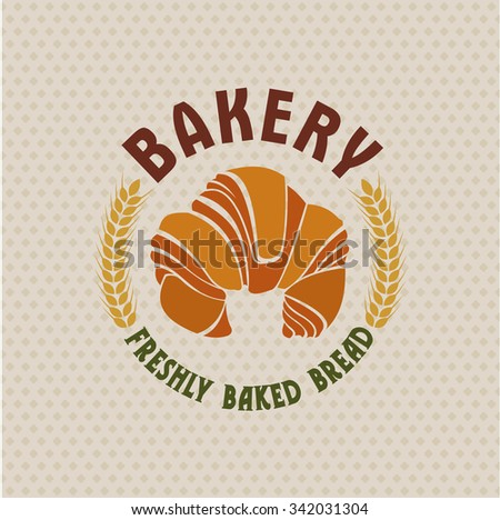 Bakery vector retro logo with a croissant.