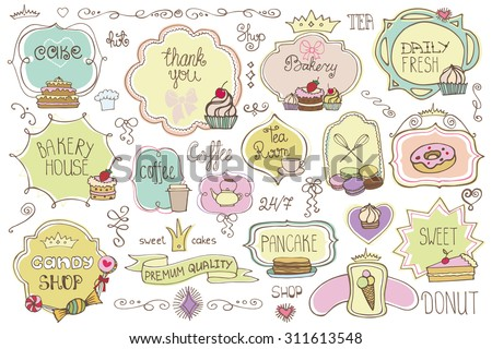 Bakery Vintage Badges,Labels,logo for sweet shop,coffee.Hand sketched logotype.Retro Colored doodles and shape design elements , cake icons,border,ribbons,frames .Vector - stock vector