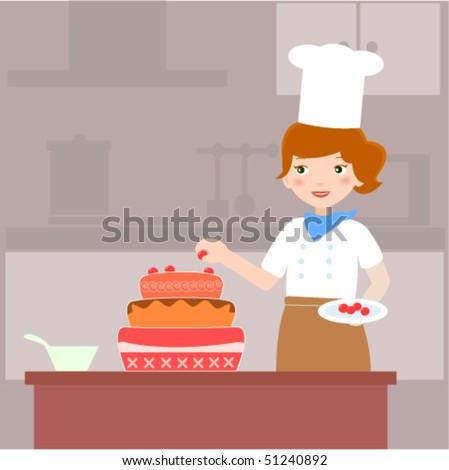 Baking Cakeillustration Lady Baker Making Cake Stock