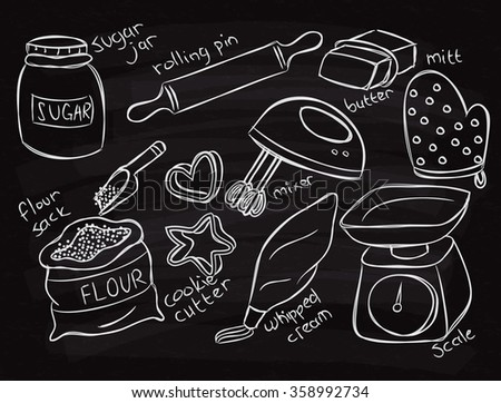 baking equopment doodle on chalk board - stock vector