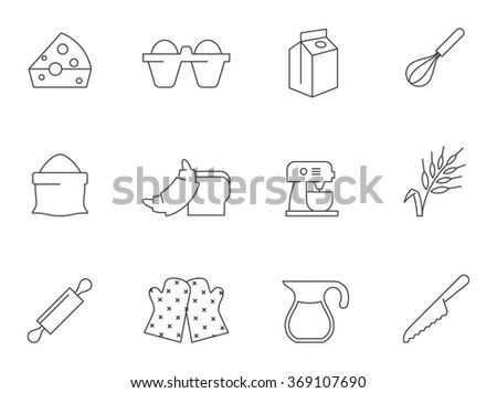 Baking icons in thin outlines. - stock vector