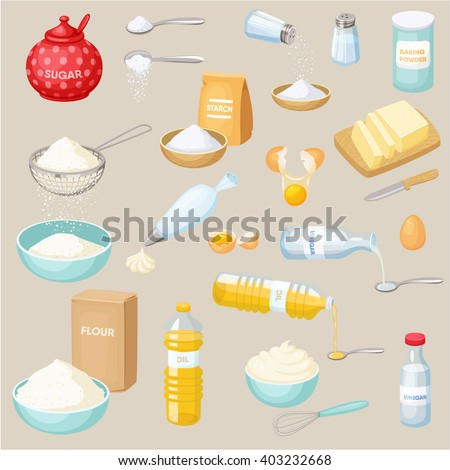 Baking ingredients set: sugar, salt, flour, starch, oil, butter, baking soda, baking powder, vinegar, eggs, whipped cream. Baking and cooking ingredients vector illustration. Kitchen utensils.  Food - stock vector
