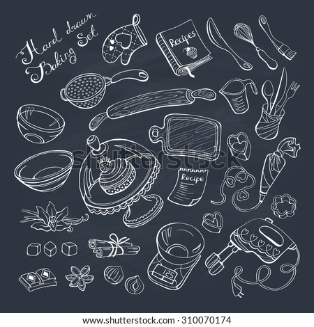 Baking items doodle set. Kitchen tools hand drawn on chalkboard.  - stock vector