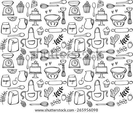 Baking kitchen icons seamless background  - stock vector