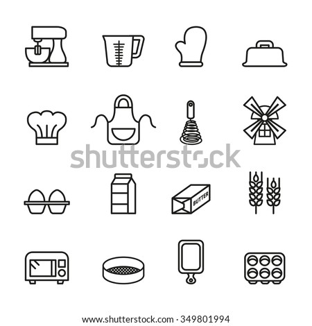 Baking Tool Icons Set. Line Style stock vector. - stock vector
