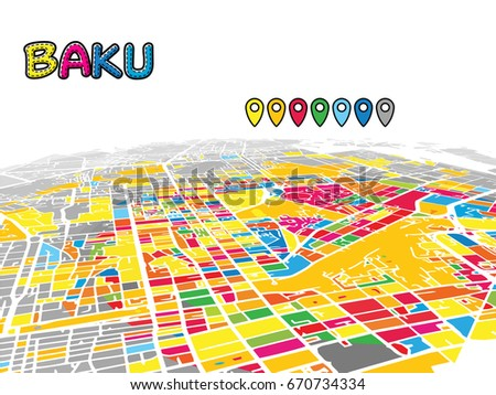 Baku Azerbaijan Downtown 3d Vector Map Stock Vector 670734334