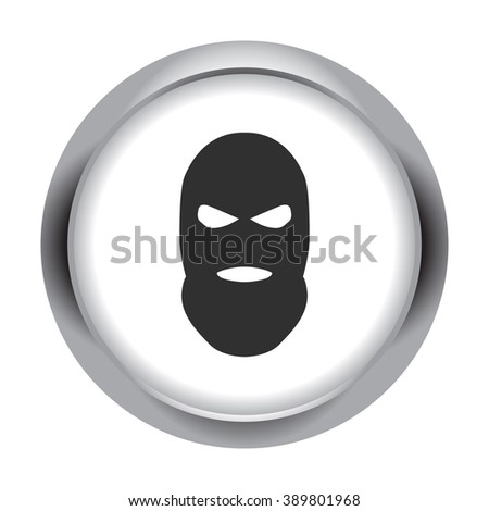 Balaclava terrorist military mask simple icon on round  background - stock vector