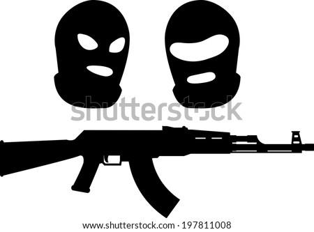 balaclavas and machine gun. vector illustration - stock vector