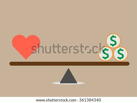 Balance between Heart and money vector - stock vector