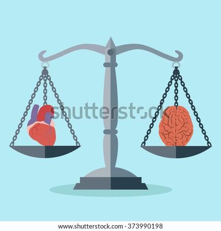 Balance between mind and heart vector concept - stock vector
