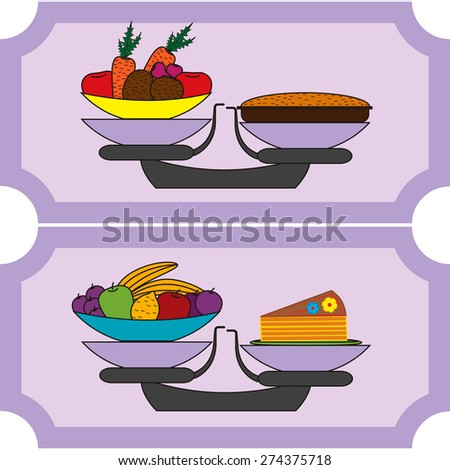 Balance between vegetables, fruits and cakes - stock vector