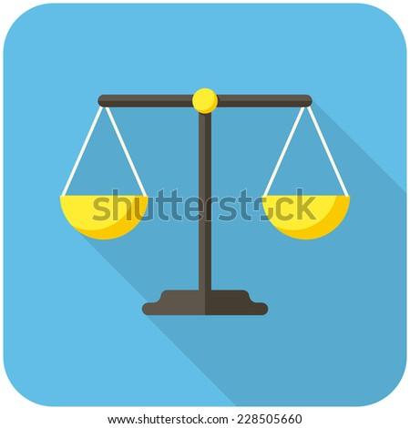 Balance icon (flat design with long shadows) - stock vector