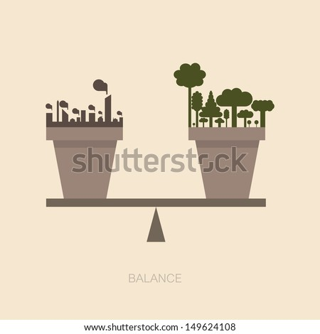 Balance scale between Nature and human construction - stock vector