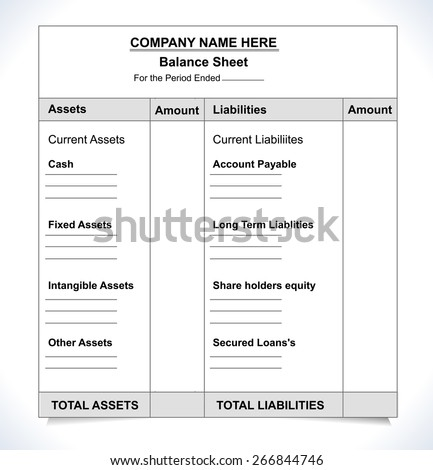 Balance Sheet Format Unfill Paper Balance Stock Vector Hd Royalty