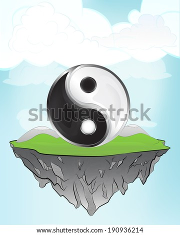 balance sign on flying island concept in sky vector illustration