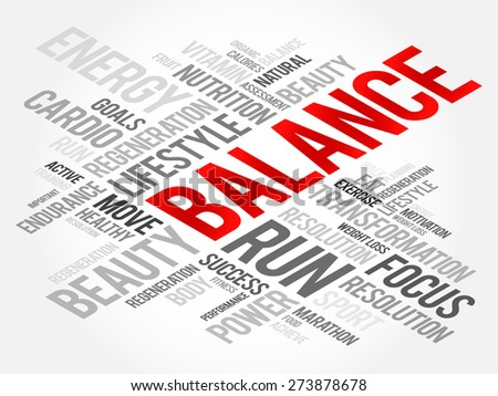 BALANCE word cloud, fitness, sport, health concept - stock vector