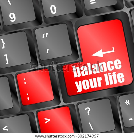 balance your life button on computer keyboard key vector illustration