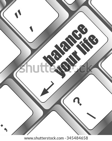balance your life button on computer keyboard vector illustration