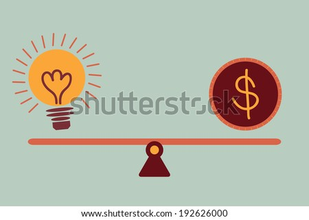 Balancing between idea bulb and money coin vector concept