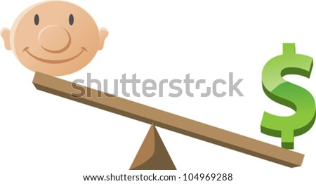 Balancing happiness with money/career - stock vector