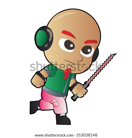 Bald Guy Holding Sword, Ear Phones and Pink Pants Cartoon Vector - stock vector