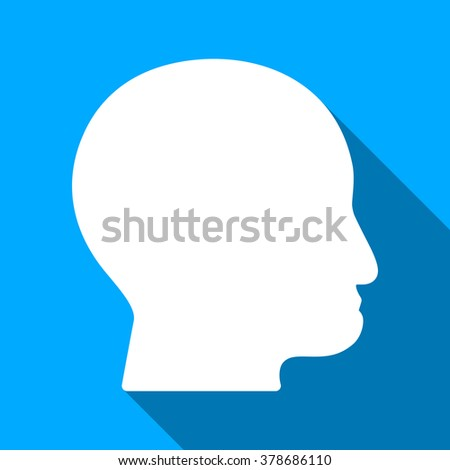 Bald Head long shadow vector icon. Style is a flat light symbol with rounded angles on a blue square background.