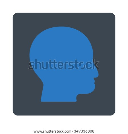 Bald Head vector icon. Style is flat rounded square button, smooth blue colors, white background.