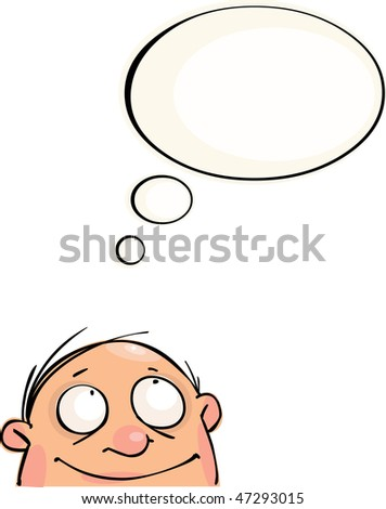 Bald man with speech bubble