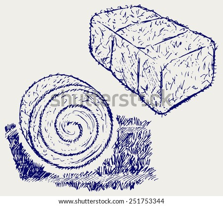 Bale of hay. Doodle style - stock vector