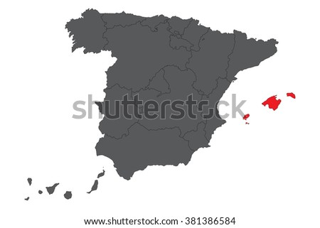 Balearic islands red map on gray Spain map vector - stock vector