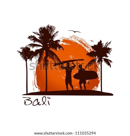 Bali illustration - stock vector