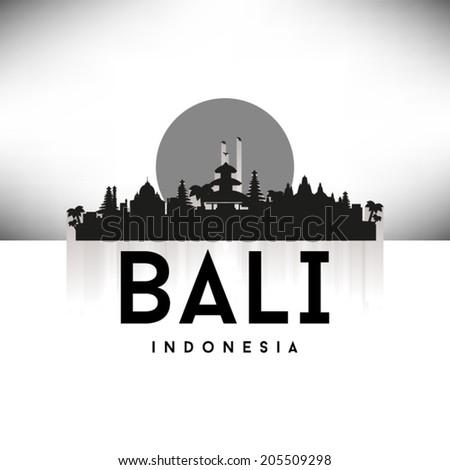 Bali Indonesia Black Skyline Silhouette vector illustration, Typographic design. - stock vector