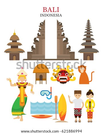 Indonesia Map Landmarks People Traditional Clothing Stock