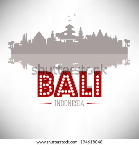 Bali Indonesia skyline silhouette design, vector illustration. - stock vector