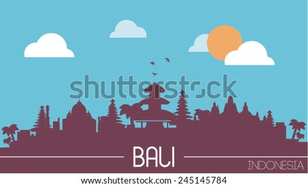 Bali Indonesia skyline silhouette flat design vector illustration.