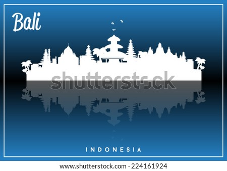 Bali, Indonesia, skyline silhouette vector design on parliament blue and black background. - stock vector