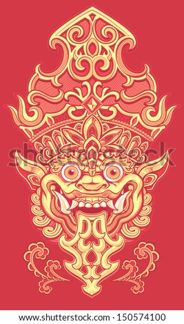 Balinese Demon Red - stock vector