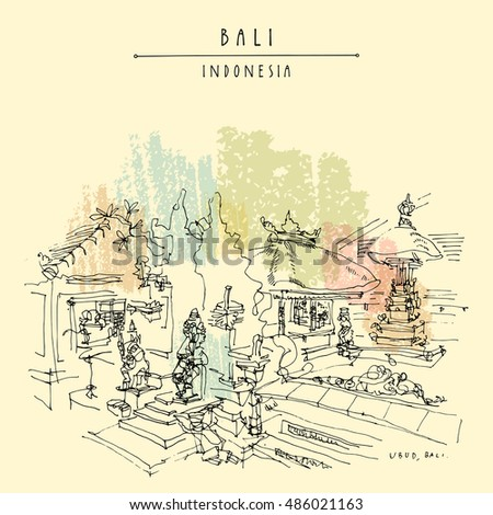 Balinese Hindu temple in Ubud, Bali, Indonesia, Asia. Hand drawing. Travel sketch. Book illustration, postcard or poster template in vector