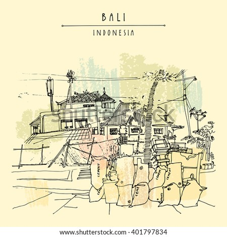 Balinese town near Jimbaran beach, Bali, Indonesia, Asia. Beach view. Hand drawing. Travel sketch. Book illustration, postcard or poster template in vector