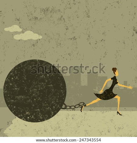 Ball and Chain A businesswoman trying to escape from her ball and chain. The woman with ball & chain and the background are on separately labeled layers. - stock vector
