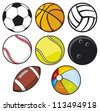ball collection - beach ball, tennis ball, american football ball, football ball (soccer ball), volleyball ball, basketball ball, baseball ball, bowling ball - stock vector