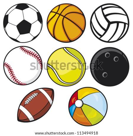 ball collection - beach ball, tennis ball, american football ball, football ball (soccer ball), volleyball ball, basketball ball, baseball ball, bowling ball - stock vector