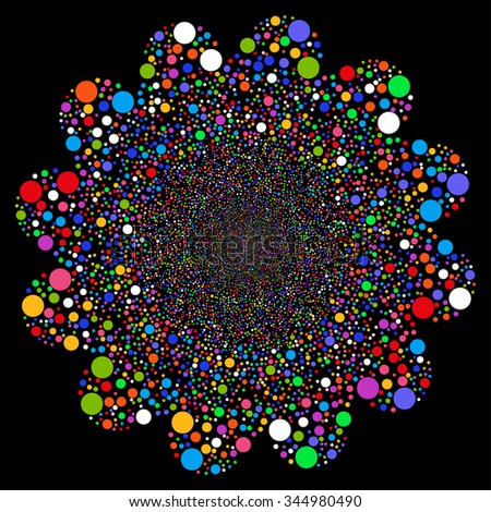 Ball Fireworks Flower vector illustration. Style is bright multicolored flat circles, black background.