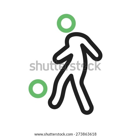 Ball, foot ball, soccer, player icon vector image. Can also be used for sports, fitness, recreation. Suitable for web apps, mobile apps and print media. - stock vector