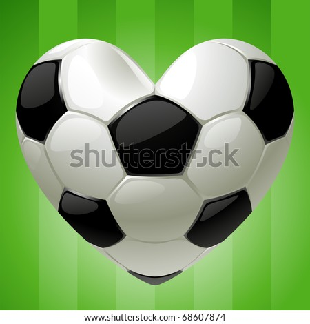 Ball for football in the shape of heart - stock vector